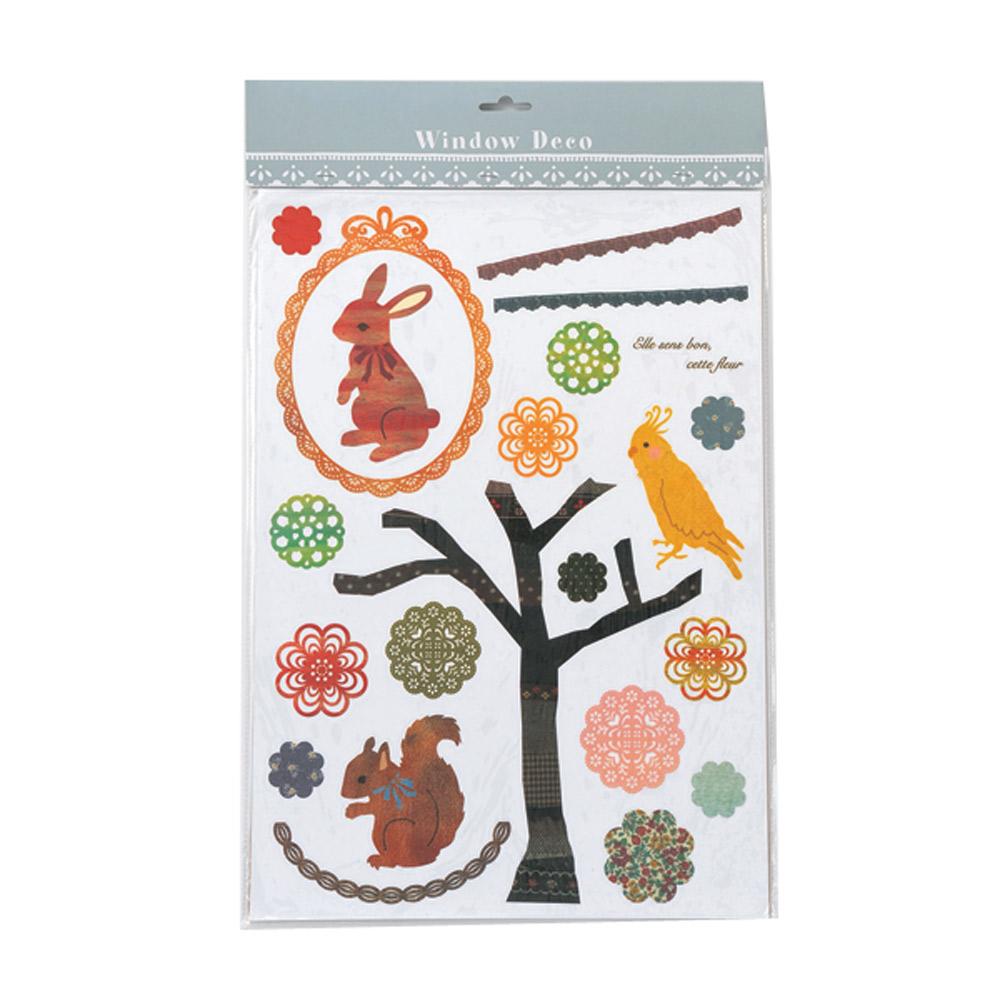 【日本 maruwa】窗戶裝飾貼紙(S)-松鼠與鳥