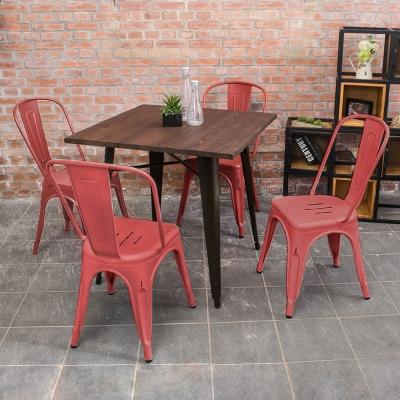 Boden-亞歷仿舊復刻工業風餐桌椅(一桌四椅)(四色)-80x80x78cm