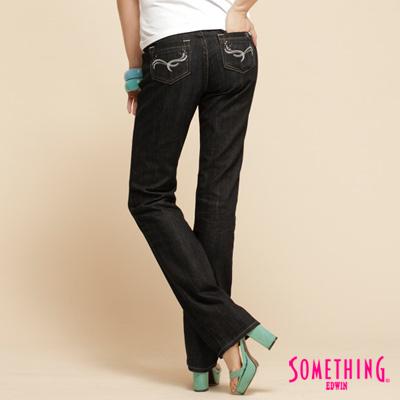 【SOMETHING】白色亮點 高腰蕾絲拉鍊中直筒牛仔褲-女款(原藍磨)