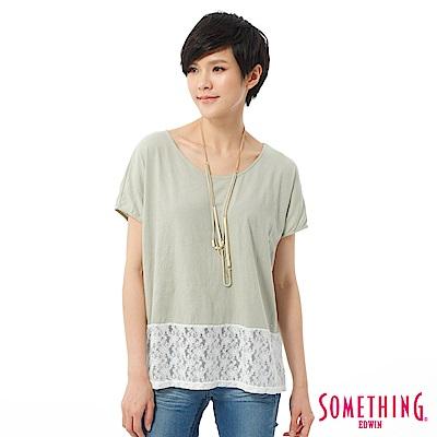 SOMETHING T恤 拼接蕾絲造型T-女-淺綠