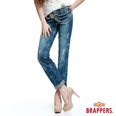 BRAPPERS 女款 Boy Friend Jeans系列-女用寬版反摺直統褲-雪花藍