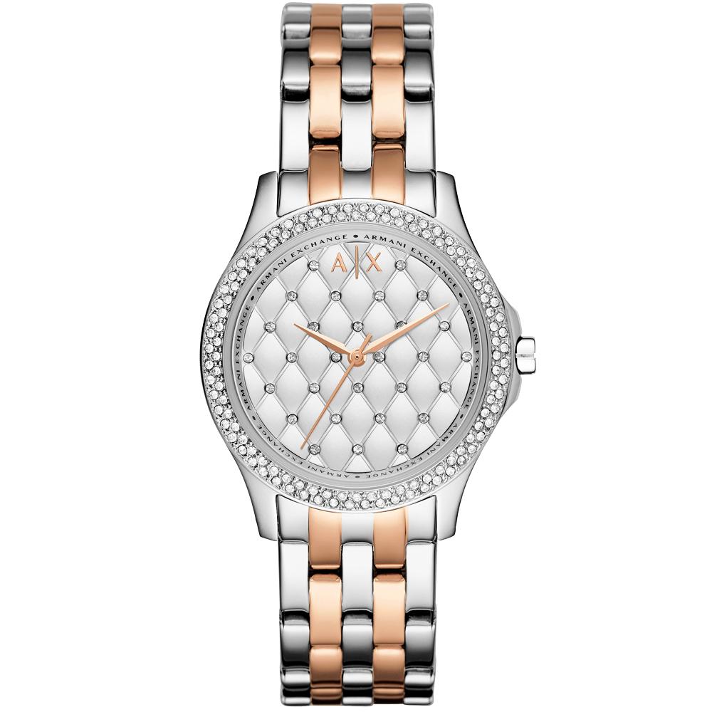 A│X Armani Exchange  奢華菱紋晶鑽立體時尚腕錶-雙色鋼帶/35mm