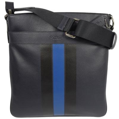 COACH-經典LOGO烙印撞色條紋皮革中性斜背包-深藍