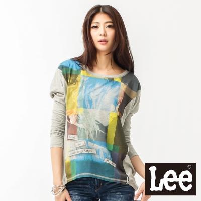 Lee 長袖T恤 布料拼接-女款(灰)