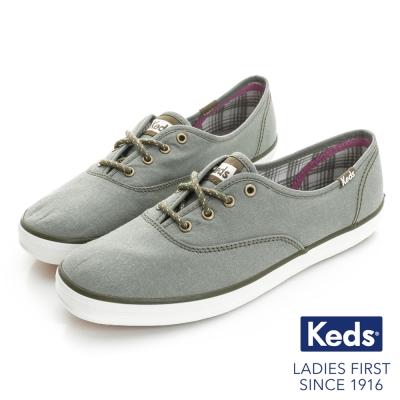 Keds 全天後機能綁帶休閒鞋-橄欖綠
