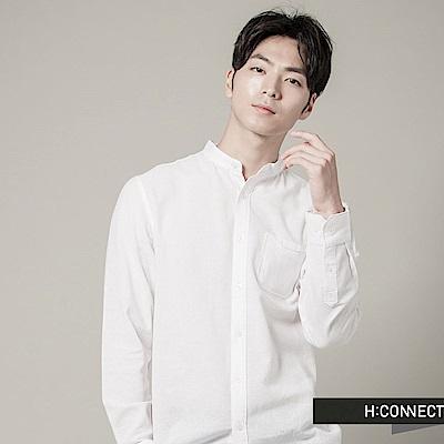 H:CONNECT 韓國品牌-男裝-立領小口袋長袖襯衫 - 白(快)