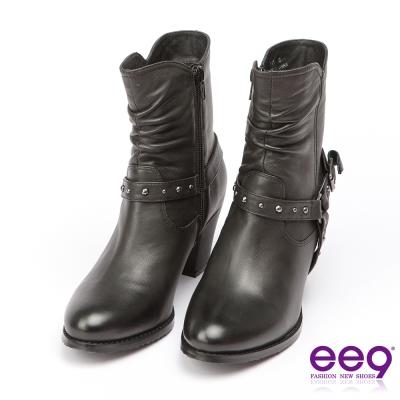 ee9 經典手工~酷勁個性靚亮金屬扣環繫帶百搭粗跟中筒靴-黑色