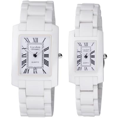 Vaness羅馬風情經典陶瓷對錶-白