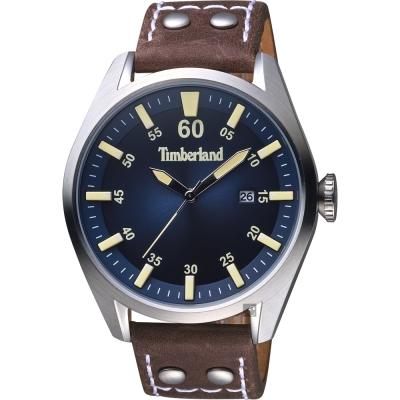Timberland天柏嵐 BELLINGHAM 型男時尚手錶-藍x咖啡錶帶/46mm