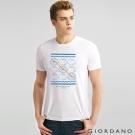 GIORDANO 男裝趣味圖案字母印花純棉修身短袖T恤-09 標誌白