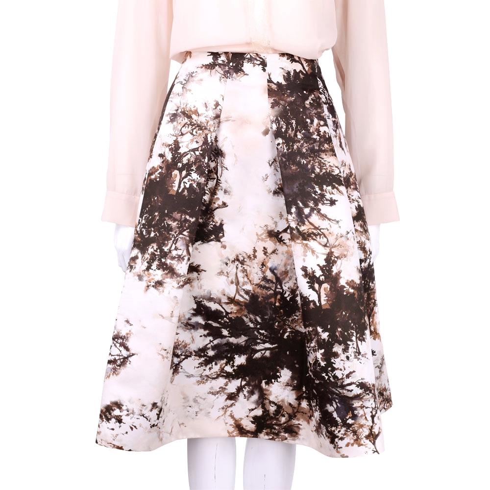 MARELLA 米色樹林墨畫抓褶中長裙