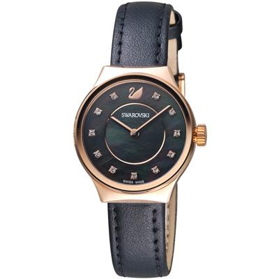 SWAROVSKI施華洛世奇Dreamy典雅漸色時尚腕錶-28mm/玫瑰金x黑色