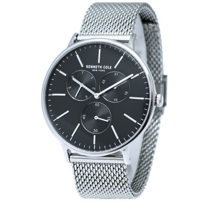 Kenneth Cole 紳士簡約三眼米蘭帶手錶-黑X銀/42mm