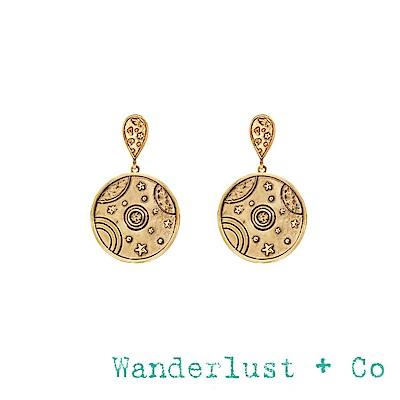 Wanderlust+Co 澳洲品牌 古典銀河星球耳環 金色圓形耳環 ORBIT
