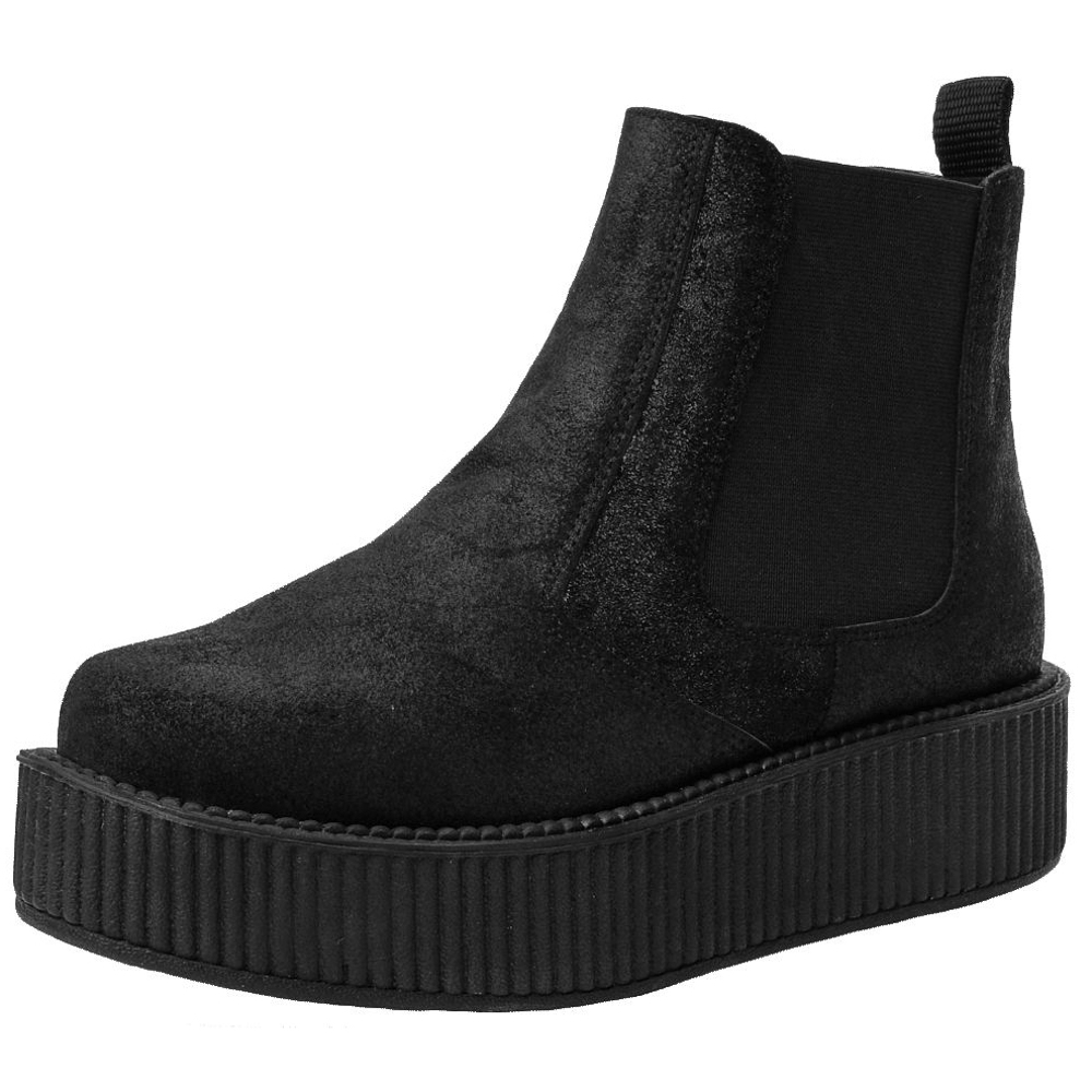 TUK VIVA 輕量麂皮帥氣厚底靴-黑