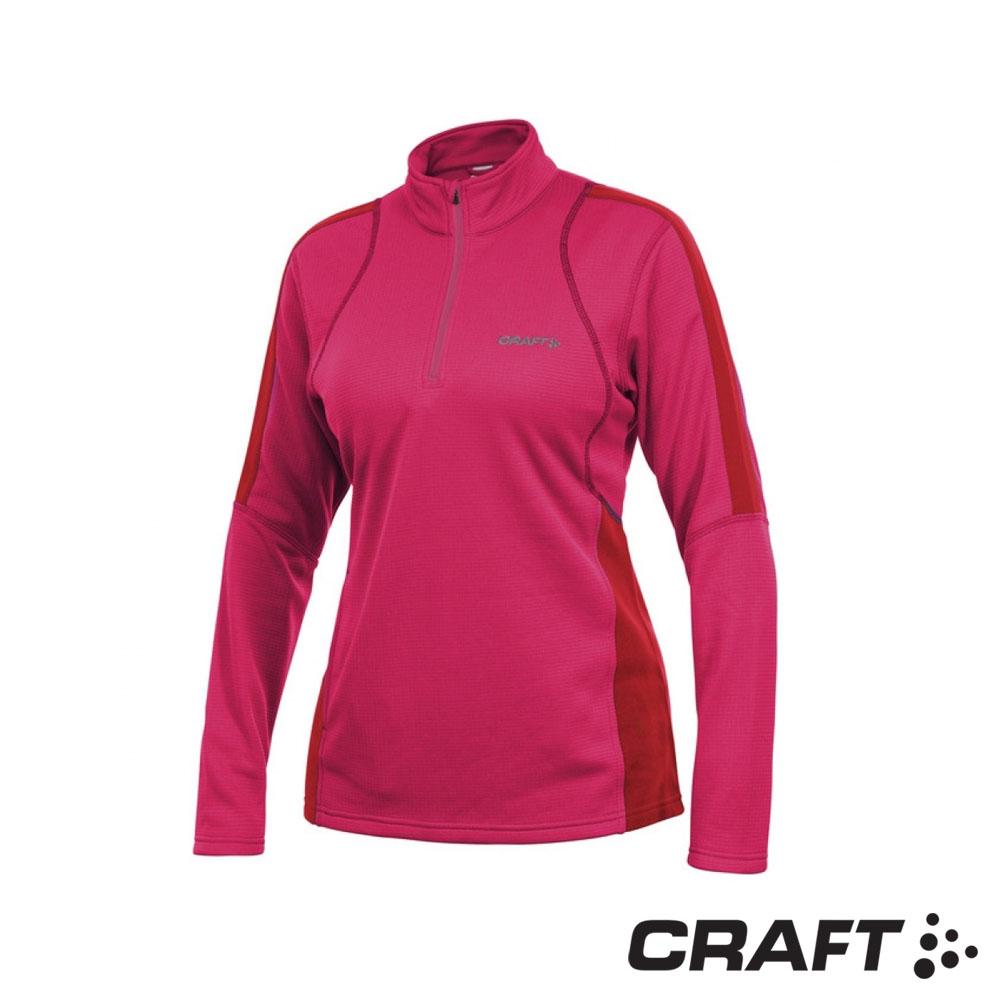 【瑞典 Craft】女款 SHIFT FREE 長袖拉鍊中層衣_桃紅