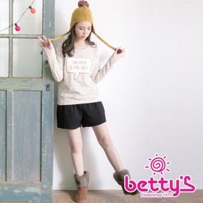 betty's貝蒂思 毛呢紋路腰間綁結高腰短褲(黑色)
