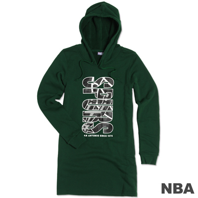 NBA-聖安東尼奧馬刺隊長版印花連帽T-綠(女)