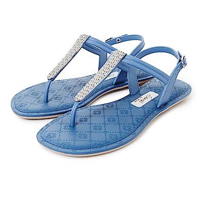 GRENDHA 晶亮菱格紋T字帶涼鞋-藍色