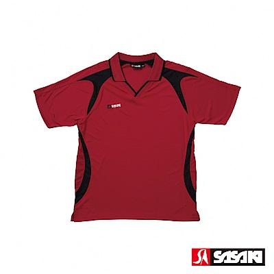 SASAKI 長效性吸濕排汗專業足球短衫-男-暗紅-黑