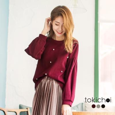 東京著衣 多色法式女孩珍珠點綴毛呢上衣(共三色)