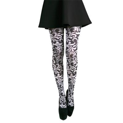 摩達客Pamela Mann英國進口義大利製 Henna黑白花圖紋彈性絲襪褲襪