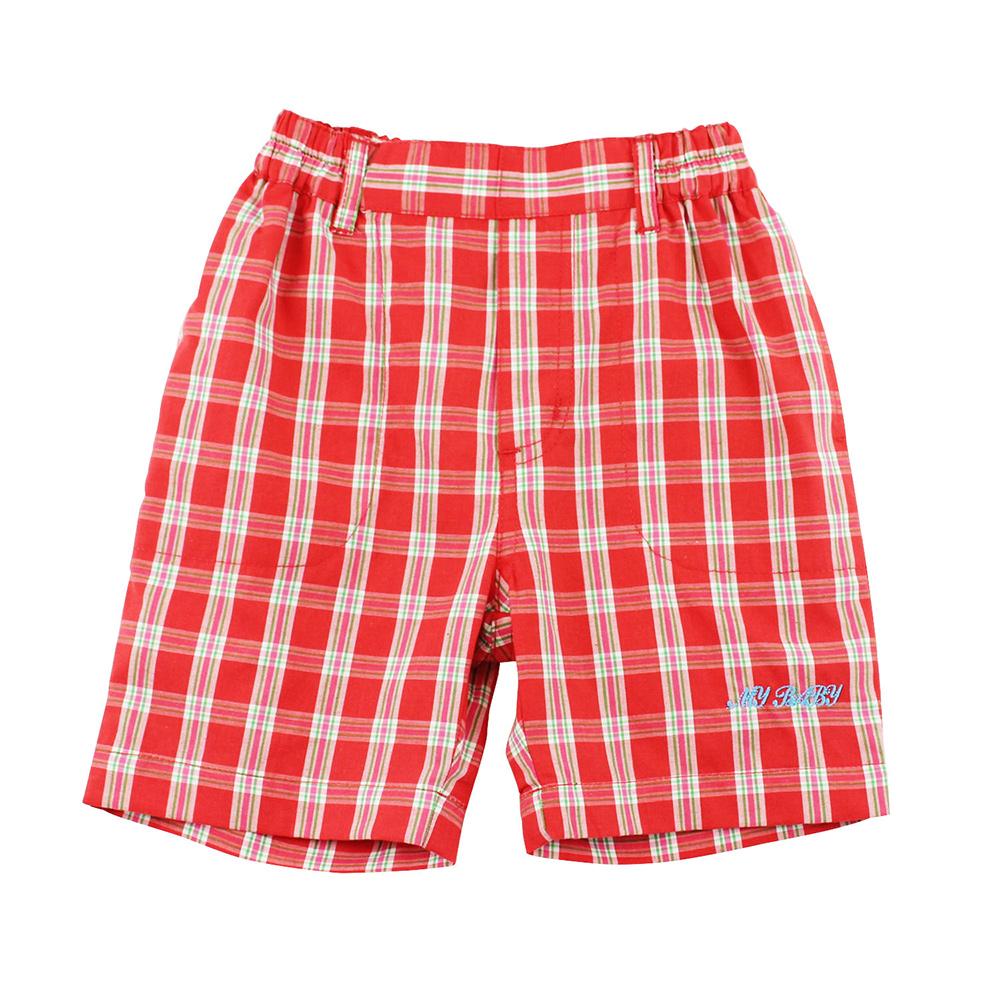 愛的世界 MYBABY 純棉鬆緊帶紅格紋五分褲/2~3歲