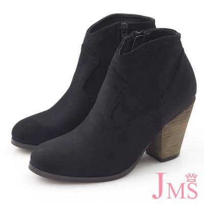 JMS-復古美型香榭歐風簡約高跟裸靴-黑色