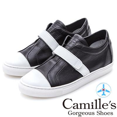 Camille's 韓國空運-正韓製-牛皮魔鬼氈撞色休閒鞋-黑色