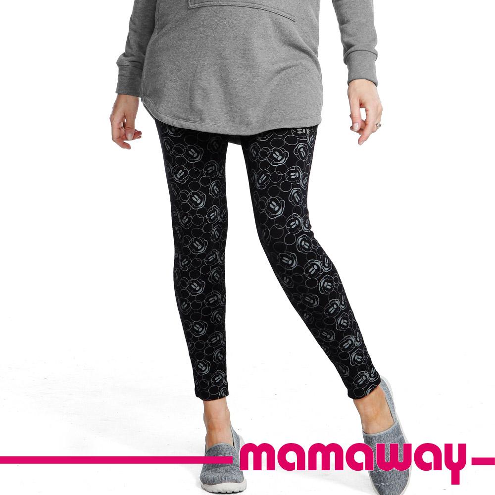 Mamaway迪士尼滿版米奇頭貼腿褲(黑色)