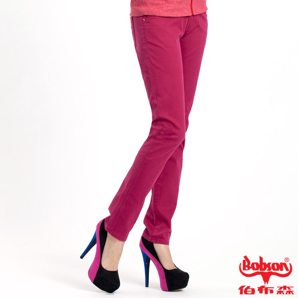 【BOBSON】女款多彩色彈性小直筒褲(桃紅15)