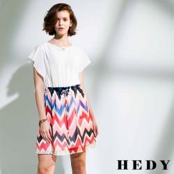 Hedy赫蒂 配色鋸齒圖形寬袖綁帶洋裝(共二色)