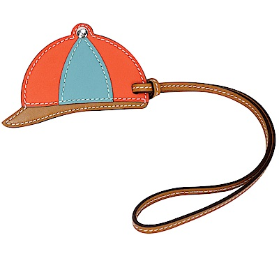 HERMES Bag Charm 俏皮球帽牛皮吊飾(水藍x磚紅)