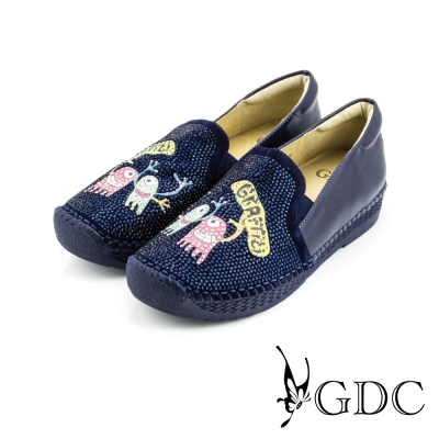 GDC-水鑽可愛俏皮大眼怪真皮懶人休閒鞋-藍色