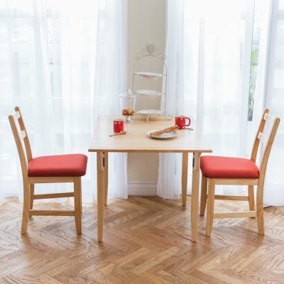 CiS自然行實木家具- 北歐單邊延伸實木餐桌椅組一桌二椅 74*98公分/原木+橘紅色椅墊