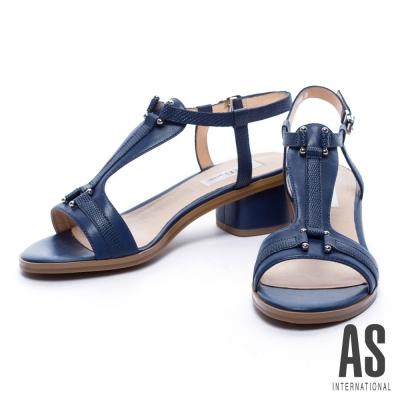 涼鞋 AS 優雅蜥蜴紋羊皮T字粗跟涼鞋-藍