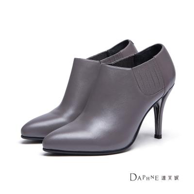 達芙妮DAPHNE-短靴-真皮素面高跟尖頭踝靴-灰8H
