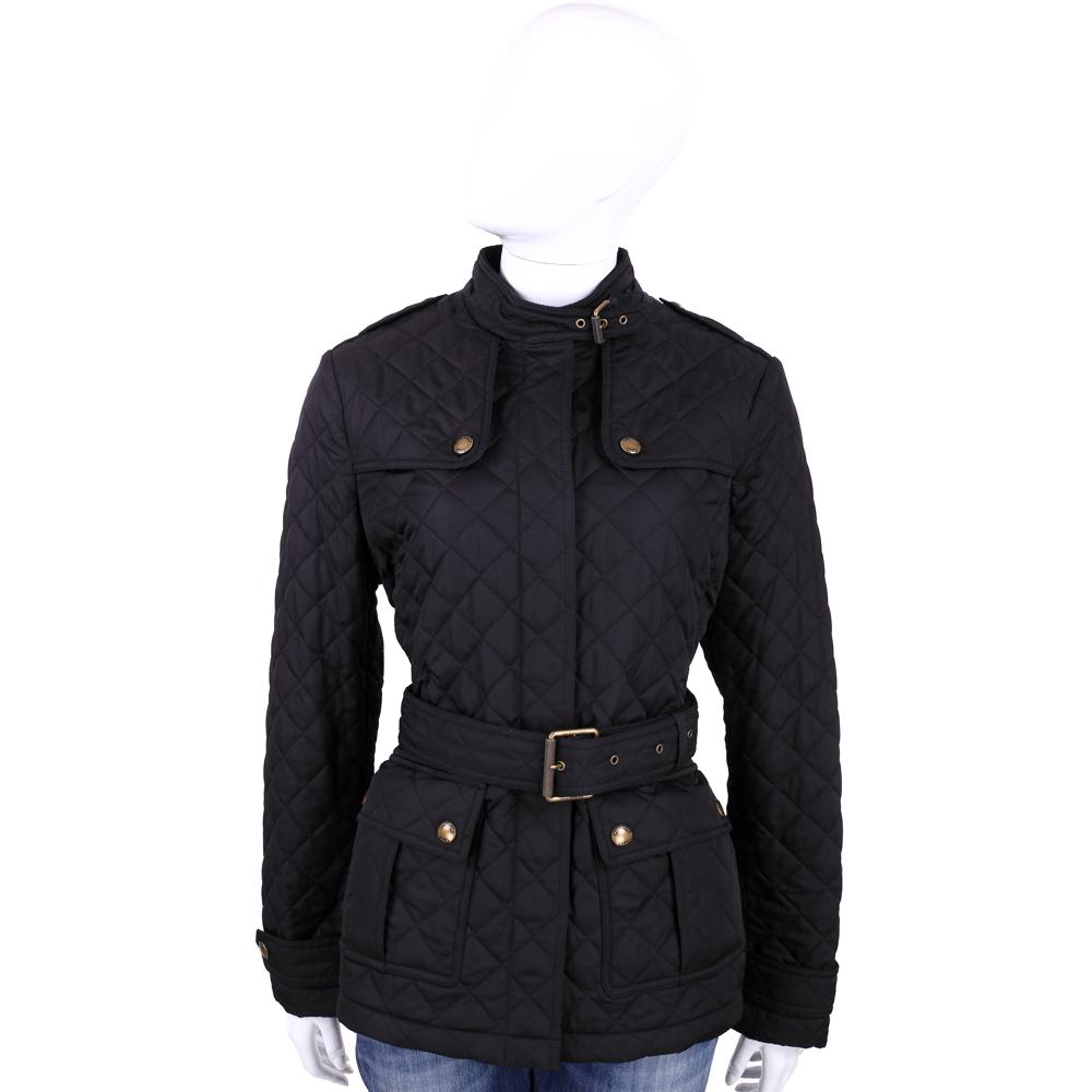 BURBERRY 黑色頸釦飾菱格車線舖棉外套