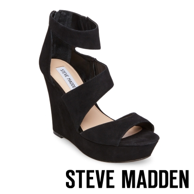 STEVE MADDEN-ESSEX 麂皮厚底防水台楔型涼鞋-黑色
