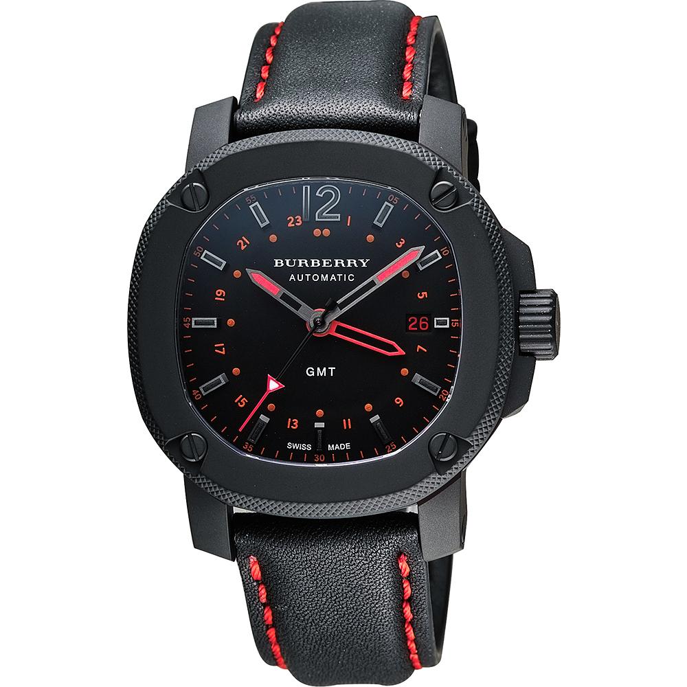 BURBERRY The Britain GMT 英倫時尚機械腕錶-黑x紅/43mm