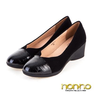 noono-都會性感-漆皮拼接楔型鞋-黑