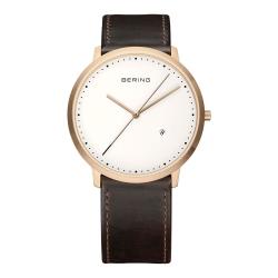 BERING丹麥精品手錶 創意長秒針系列 深棕色皮革白錶盤39mm