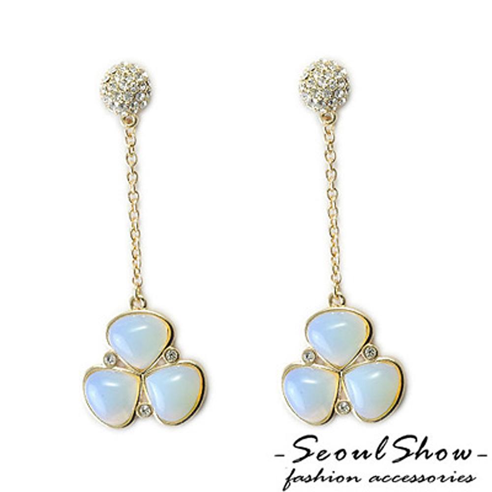 【Seoul Show】純白幸運草 奧地利水晶針式耳環