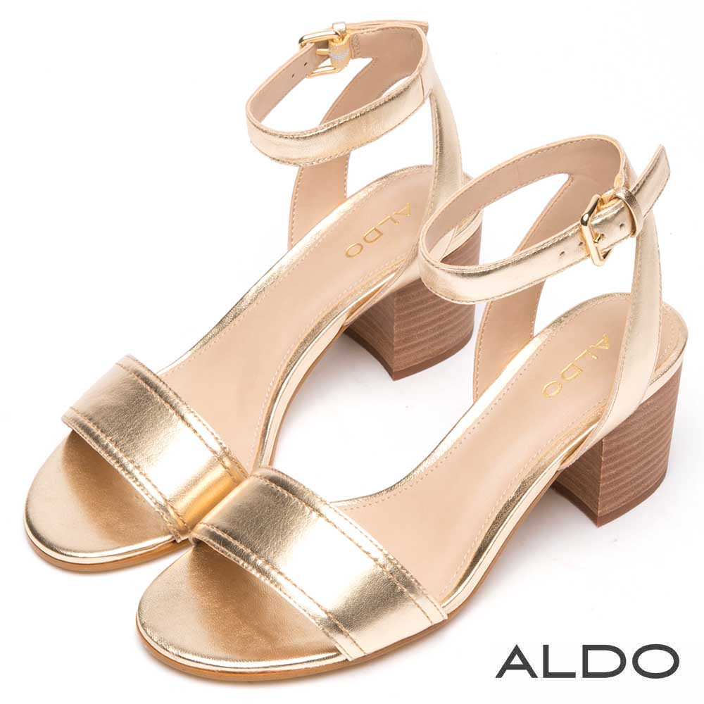 ALDO 原色真皮一字型繞踝式金屬釦帶涼鞋~華麗金色
