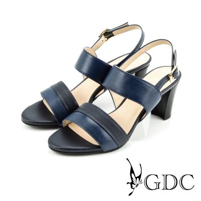 GDC-都會時尚雙色蛇紋真皮高跟一字涼鞋-藍色