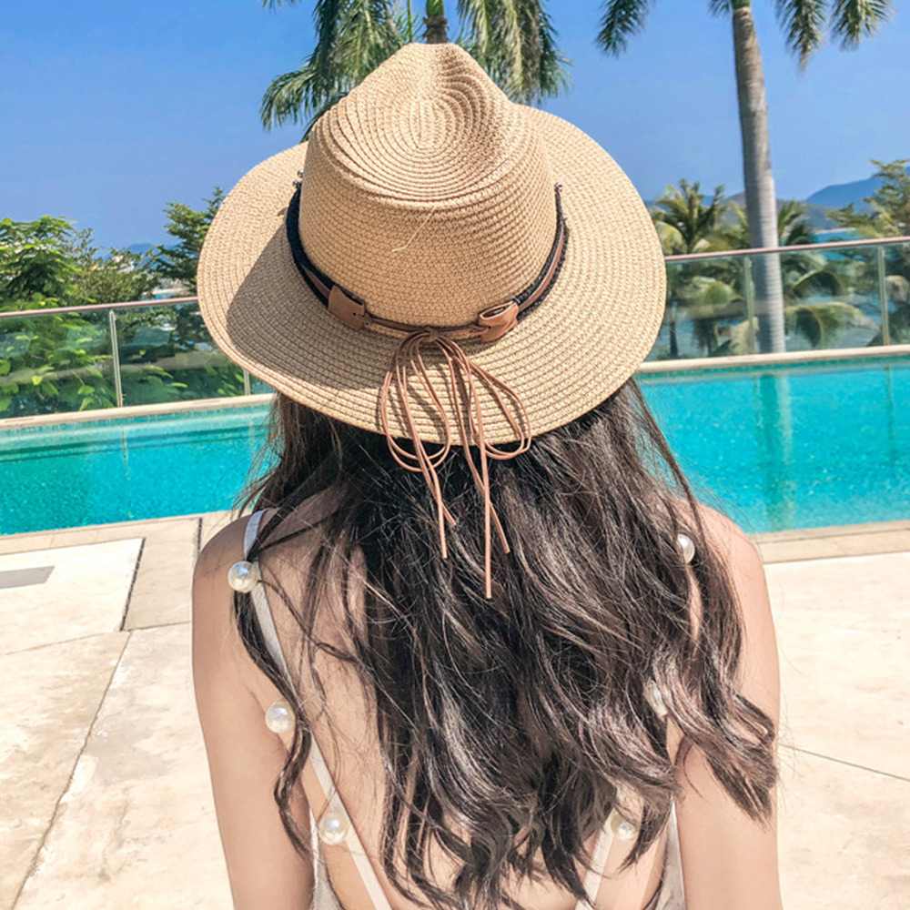 梨花HaNA 韓國好質感皮革牛仔扣飾遮陽綁帶草帽-速