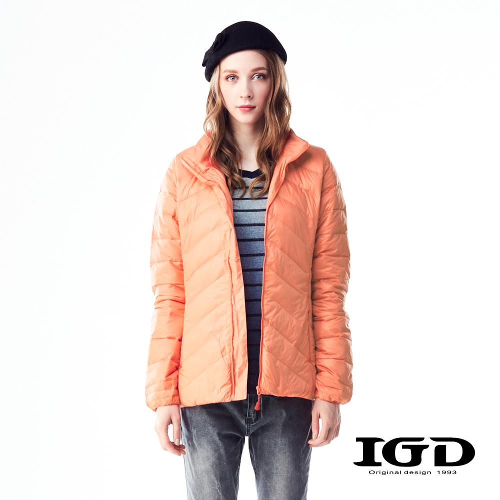 IGD英格麗90輕量保暖短版羽絨外套-螢光橘