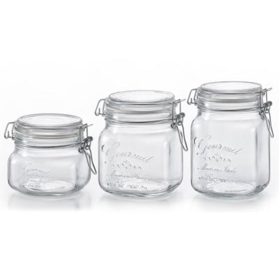 ADERIA日本進口抗菌密封寬口方形玻璃沙拉罐三入組