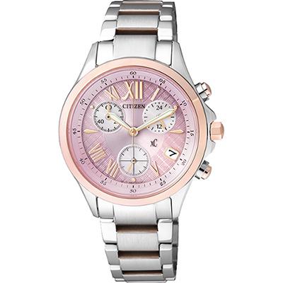 CITIZEN xC 光動能羅馬戀人計時腕錶(FB1404-69W)-粉x玫瑰金/32mm