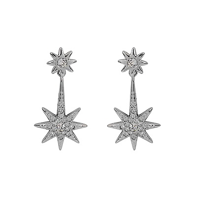 SWAROVSKI 施華洛世奇 多角雙星造型銀色水晶垂墜長耳環